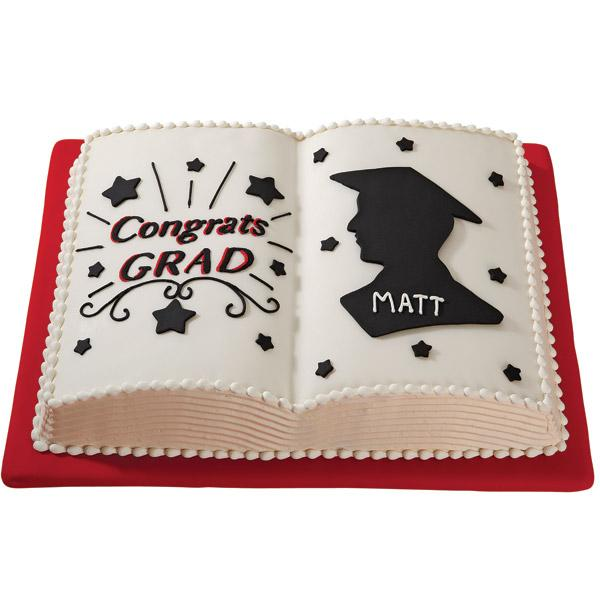 A Study in Success Cake. This stunning graduation cake features a cool reading book design. Personalize your own with the graduate's names on it. You can add the graduate's portrait as well as some stars for decoration.