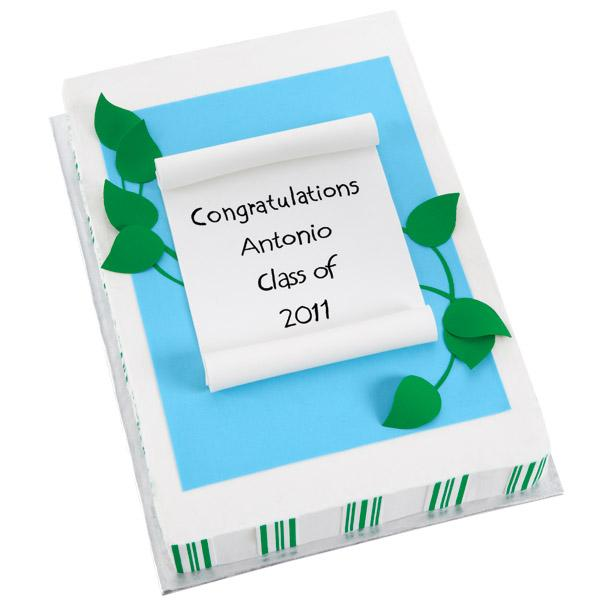 Herald their academic triumphs with a graduation congratulation cake made from sugar cake sheets. You can also add leaf embellishments, stripes and diploma for garnishment.