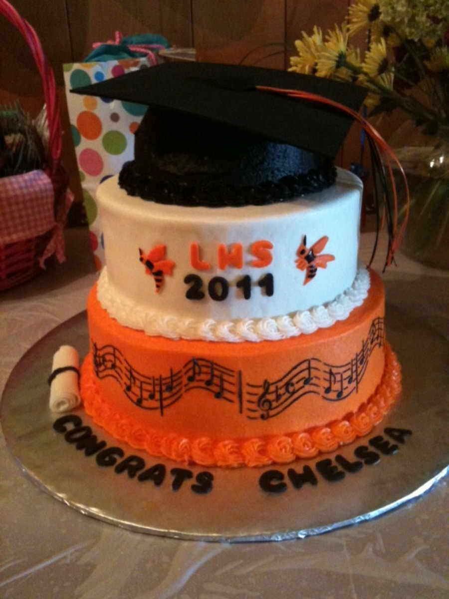 High School Graduation Cake. Celebrate the great accomplishment for the graduate with this music themed graduation cake. Use foam and ribbon to create the topper cap and add some flowers and musical notes for beautiful garnishment.