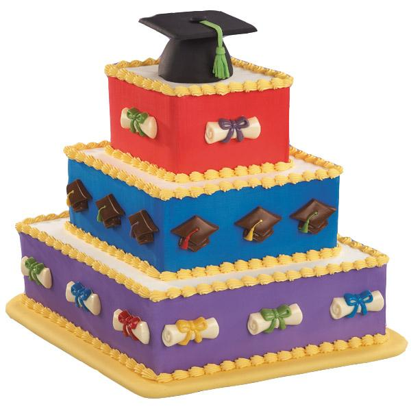 The Best and Brightest Cake. This gorgeous diamond-shaped 4-tiered cake is really stunning with a mortarboard cake. The colorful cake side candy accents molded in the graduation lollipop adds more charm to this graduation cake.