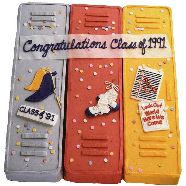 Lock-up Graduation Cake. This stunning locker-shaped graduation cake creates a unique way to say congratulations with its unique outlook. Position cakes together on serving board, outline each pendants, shoe and note paper. Add confetti to finish off this awesome graduation cake.