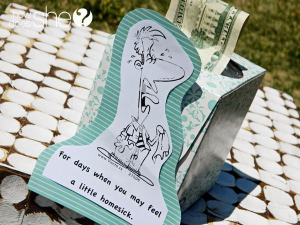 Money Rolled in a Tissue Box. This time what your take out from the tissue box are not tissues but bills roll up in the box beforehand. Surprise the graduate with this homemade gift to a homemade style.
