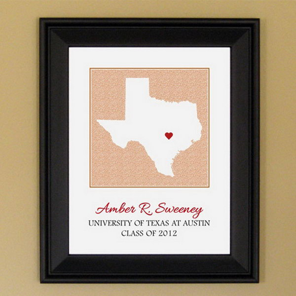 Personalized State Frame. This gadget serves as a reminder for graduate to remember his or her roots with a unique and customized frame wherever he or she is.