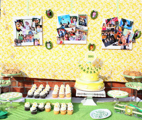 Daisy Graduation Party. Personalize your backdrop for the graduation party with a collage of photos from different stages of your school life. Attach with green gingham ribbon and frames for beautiful decor.