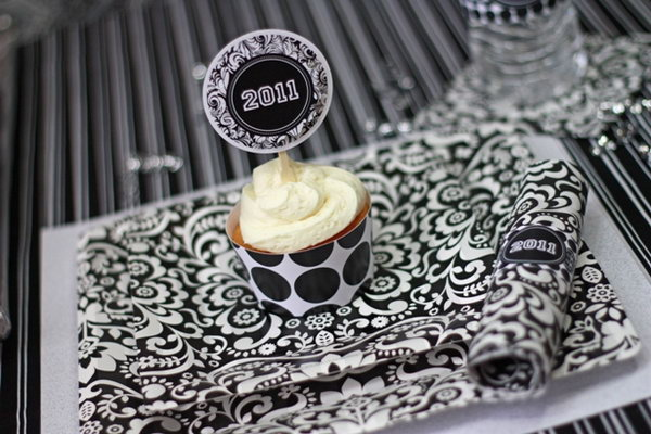 Black and White Graduation Party. Create this fabulous graduation party collection in honor of the accomplishments of the graduate with black and white damask plates and napkins, brush stroke cupcake wrappers.
