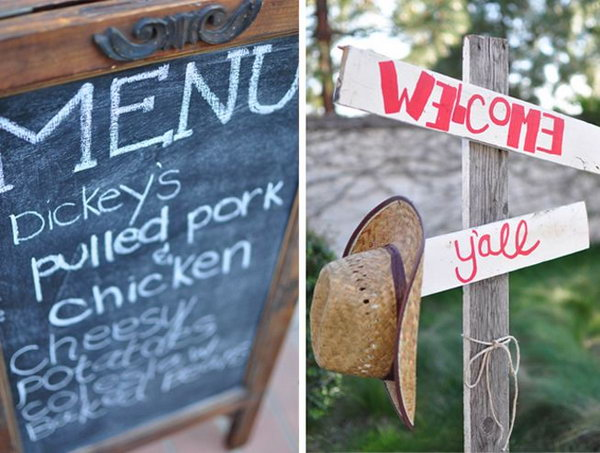 Western Themed Graduation Party. The straw flooring, menu signs and clever handouts make this graduation party memorable and stand out from other ordinary parties.