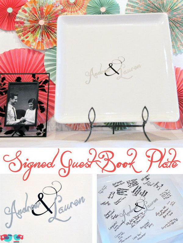 Sinfully Simple Plate Guestbook. Have a whole set of plates by asking guests to leave their words of wisdom, best wishes or nice notes on these simple plates. You'll have a lot of fun while dining with these guestbook plate collections.