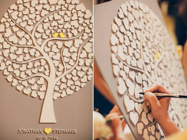 Wood Rustic Wedding Guestbook This 3D Custom Is Made From Laser