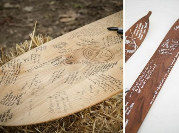 Wooden Surfboard Guestbook. Make your guestbook something special with this local shaper craftan old school wooden surfboard instead of a traditional guest book if your guests are avid surfers.