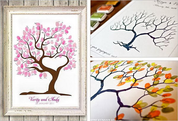 Fingerprint Guestbook Idea. How to create an art-piece for your guest book? Invite your guest to add their thumb prints to create leaves instead of placing signatures or messages to break out from the ordinary way.