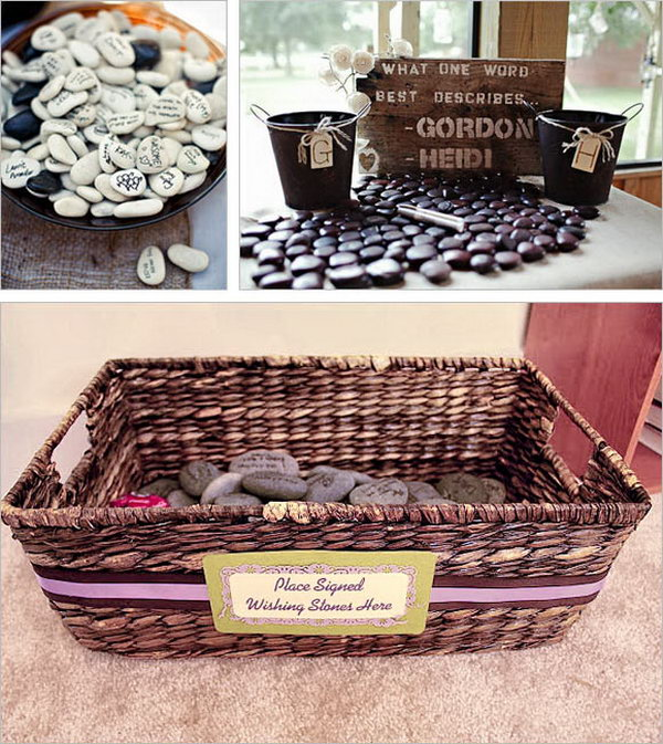 Wishing Stone Guestbook. It dates back to an Irish Tradition for guests to write their best wishes on smooth stones. You can either display the pebbles on a guest book table or put them into glass vase filled with water.