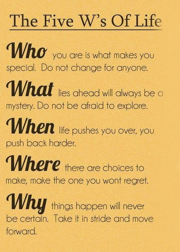 The Five W's Graduation Quote. It's so fantastic to put quotes that begin with W together. As the quote suggests: Who you are is what makes you special. Do not change for anyone. It encourages the graduate to stay the way he or she is.