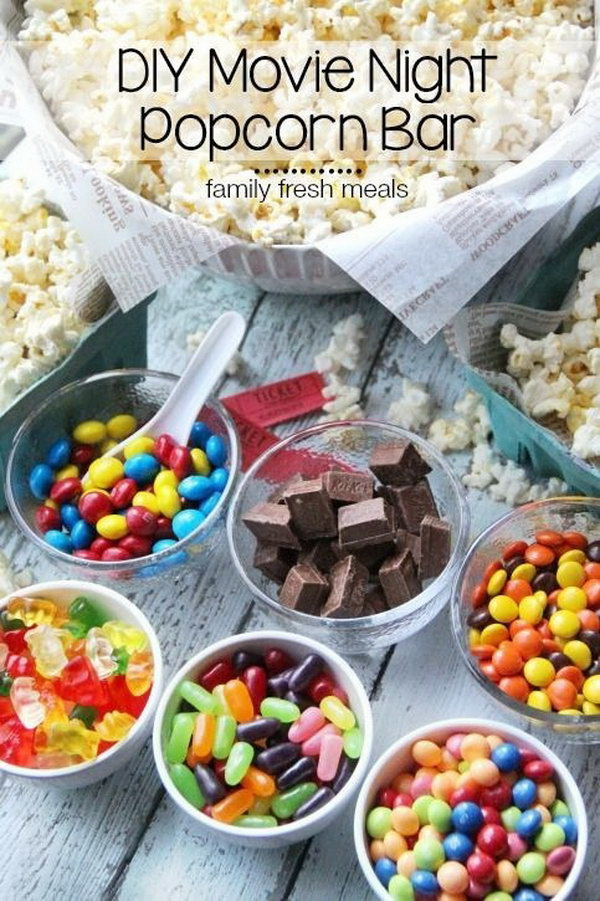 Concession Buffet Party Idea. A quick and easy treat is necessary for your party. It's so sweet to snuggle up with some delicious snacks by simply cover the bowl with popcorns and set out some sweet toppers, such as gummy bears, mini peanut butter cups, reese's pieces, mini kit kats as you like.