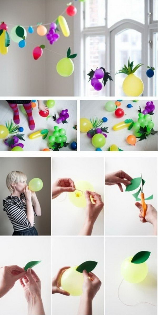 Fruit Balloon Party Idea. DIY your fruit balloon by putting together fruit balloon of various colors and tape the leaf. You can create the 3D effect by creasing the leaf. It's so fantastic to decorate your party with this fruit flavor balloon garland.