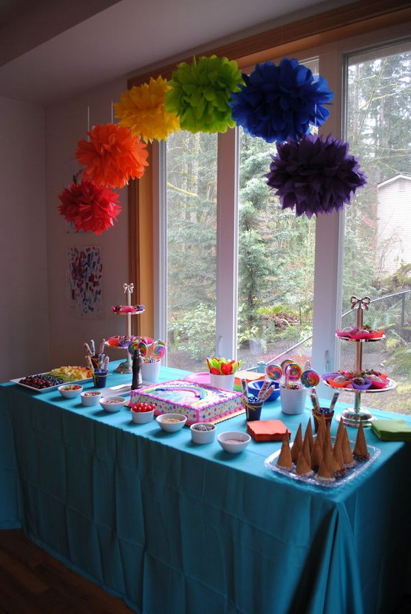 Little Pony Party Idea.  Use rainbow sprinkles on both white and milk chocolate, and place the strawberries in brightly colored cupcake liners. Display ice cream cones in a glass tray. Dip the tops in white and milk chocolate and again in rainbow sprinkles. Serve colorful fruit in a white platter.