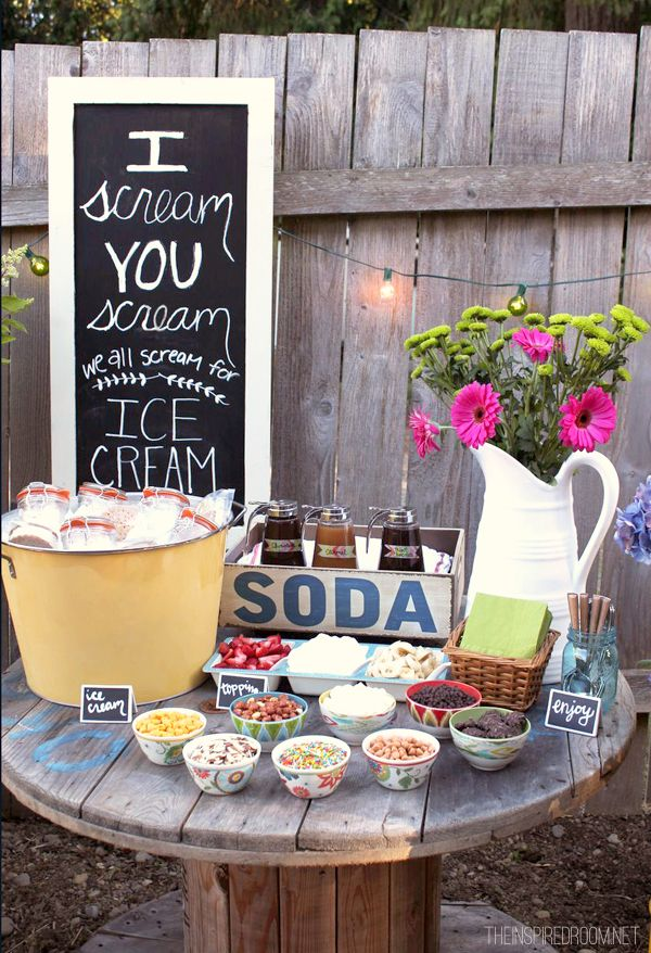 Backyard Ice Cream Party. To create such an ice cream party, you can use the little lidded jars to serve the pre scooped ice cream. Display all your candy, nut and fruit in bowls. The sweet little teak tea cart just finishes off for the theme of this party.