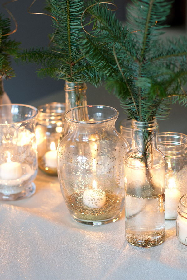 Sparkling Party Idea. Place some sparkling confetti at the bottom of the glass jars and vases. Glitter them up with candles. You can also use recycled cut-off branches from Christmas tree as the floral centerpiece. Place glitter floating around in the water as the floral centerpiece. I really appreciate the romantic look of this party idea.