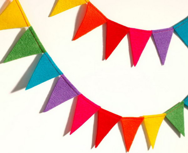 Rainbow at Party Ideas. Bright colors can light up your mood for a whole day. DIY this reusable rainbow party felt flag bunting to finish off the beautiful outlook for your party room. Once the party is over, you can transfer it to decorate any other occasions to celebrate or simply the room of your kid.