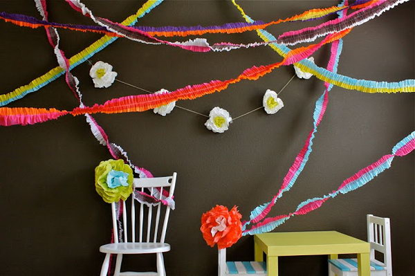 Ruffled Streamers. Overlap crepe paper streamers to come together in the middle. Sew lines on your fabric and pull strings to gather up the fabric to your liking. Decorate your party with ruffled streamers for your colorful design.