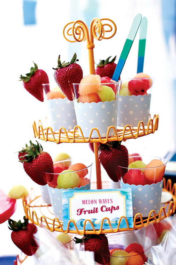 Cupcake Stand Party Idea. Try to display your food in a cupcake stand way. Put the cupcake liner inside the cup and put all your fruit in. It's so pretty in outlook and it's very easy and convenient to get your food.