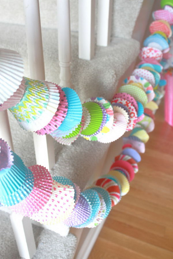 Cupcake Party Garlands. Mix large and mini cupcake liners in various colors and patterns. This handmade adorable cupcake garlands are perfect for party decoration. It works perfectly with stairwells, fireplaces, cake tables as well.