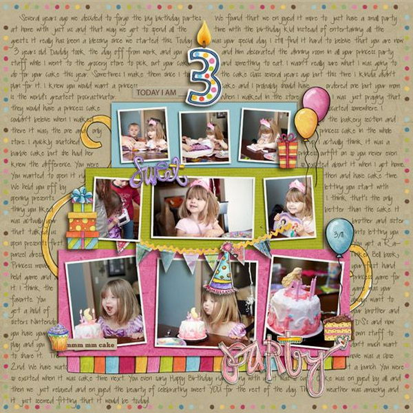 Tell the whole birthday story with lots of photos in the pattern of a cake to record the moments of your beloved baby.