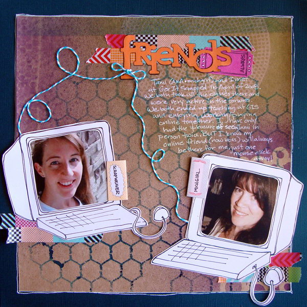 Idea for Scrapbooking online friendship.This is a creative scrapbook idea to record the friendship with your online friends.