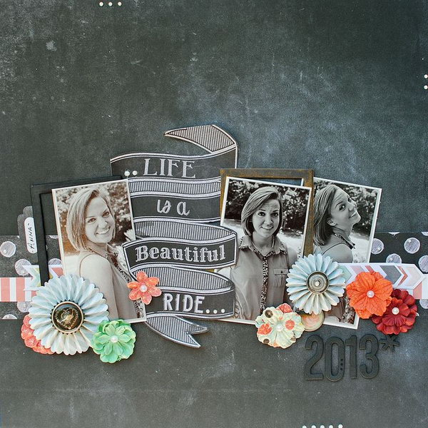 A train shaped scrapbook. Life is a beautiful travel. Put all your cherish pictures together in a shape of a train. The idea is creative and meaningful.