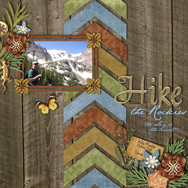 A scrapbook idea for hiking. Design your hiking scrapbook with the new sketch and template with arrows. The sketch shows the beauty of the nature. Template with arrows shows hiking is not easy.