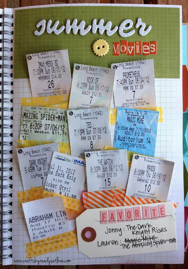 Save all your summer movie tickets, and stick them together in a piece of paper.