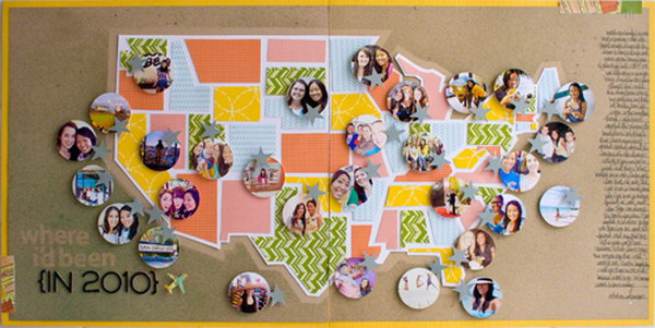Use the little circle photos representing all the places you have visited in the graphic shape.
