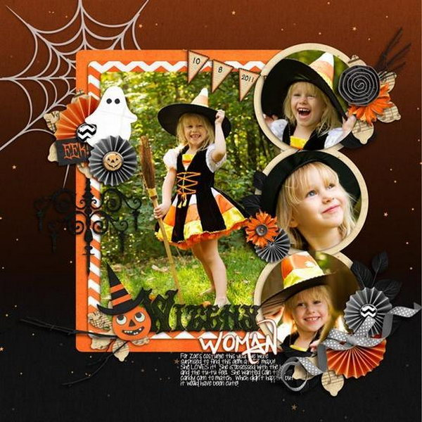 Make your memories about Halloween party last forever with a cute Halloween scrapbook. Here's a good idea for your reference.