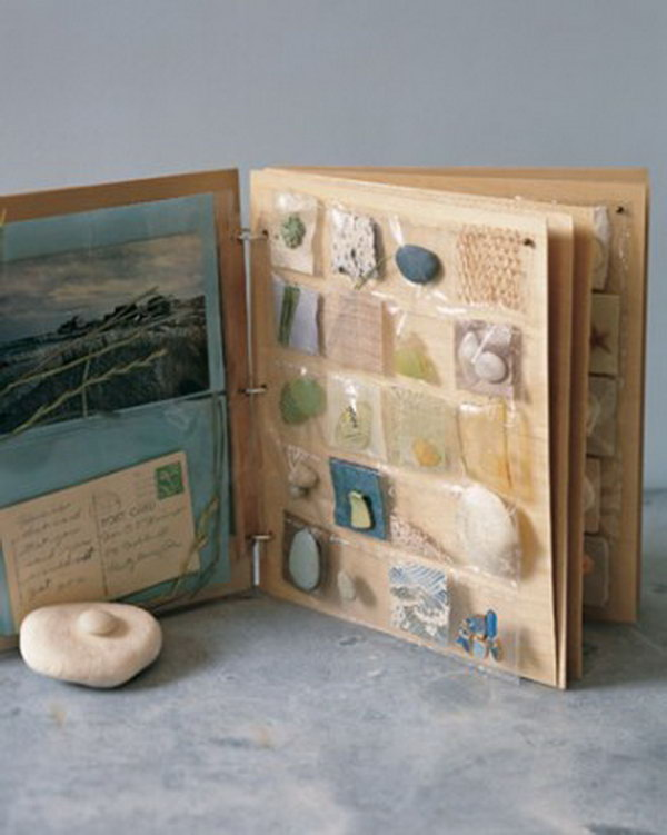 Seashore Scrapbook. Making little pockets and keeping bits of the beach in, such as seashores, shells, or anything else you see in the beach, etc.
