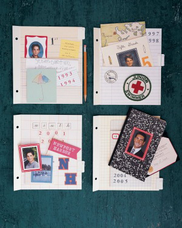 School Scrapbook Pockets. Record the cherish moments by creating a scrapbook with artworks, awards, and other keepsakes that you achieved or finished during your school time.