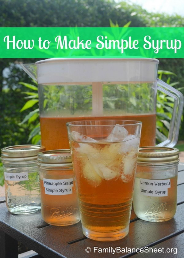 Simple Syrup. Set out labeled squeeze bottles of simple syrup in the flavor you like with iced tea or lemonade. Please the guests with a sweet cool taste on a hot summer day.