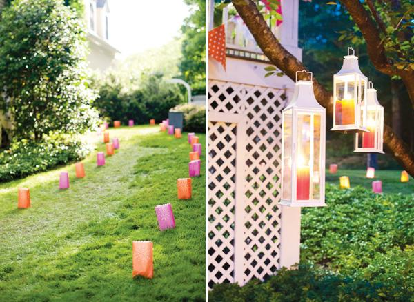 Paper Bag Lights Summer Party Decor. Set up a summer party with these colorful luminary bags and tea lights to create a romantic and dreamy display.