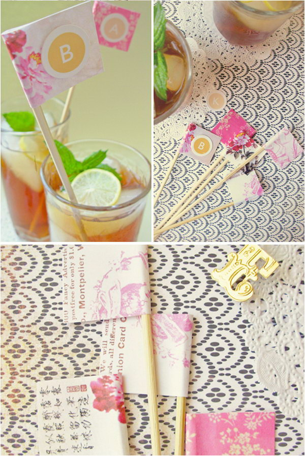 Summer Drink Stirrers. Personalize your drink stirrers to give your summer party drink a summer makeover. Just mix up refreshing lemonade to get all the guests cool down and enjoy the cool flavor with these pretty stirrers.