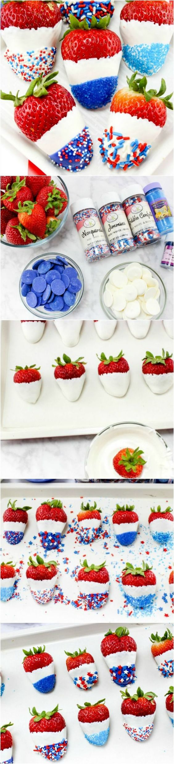 Red, White & Blue Chocolate Covered Strawberries.