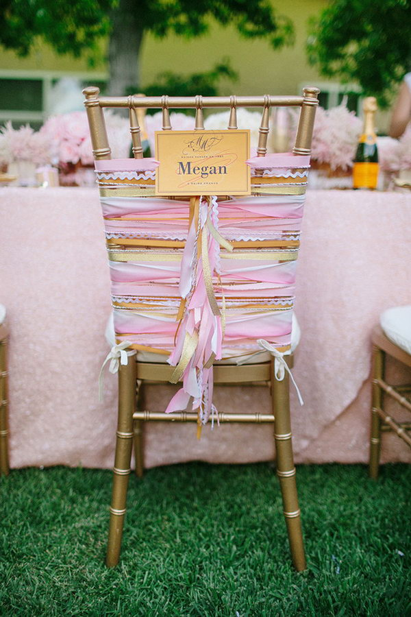 Wedding Chair Decor. It's perfect to give your wedding chairs a wedding chicks style look with ombre coral combination. Strip sideways and rotate the ribbon to create the center fringe down effect.