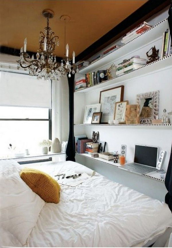 Look Skyward. If you bedroom happens to have small space, it's super chic to utilize the vertical space. You can install deep shelves to place boxes and luggage that don't need often for high ceilings.