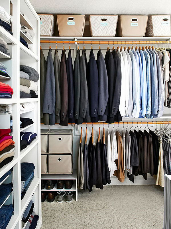 Slim Storage. In order to organize your clothes in a better way, you can divide the m by type, color or season with this gorgeous shelf to master you small bedroom area in a brilliant way.