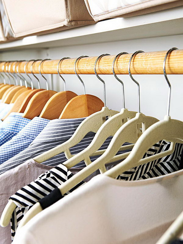 Choose the Right Hangers. To avoid your bedroom closet storage from uncluttered, buy the hanger the same type of your clothing to save as much space as possible for your bedroom.