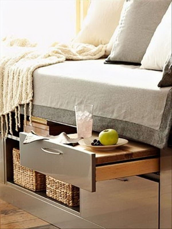 Under-bed Storage. Try to utilize the storage space beneath your bed, it's super chic to store out of season and extra items you don't require at this time. You can use under-bed containers to organize your items and save space in your bedroom.