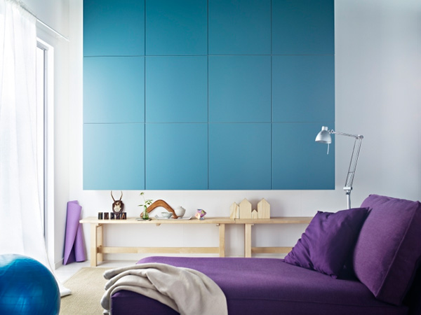 Trend Setter. In order to keep your thins organized in your bedroom, your don't have to gain space with the unpleasant outlook. This blue wall unit will keep your bedroom in a trendy style with its knob less style and compactness.