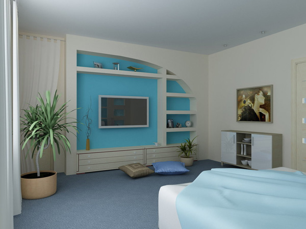 Stylish Storage. You can create more space with this blue wall unit and keep your bedroom in a super stylish room design to impress all your friends and relatives.