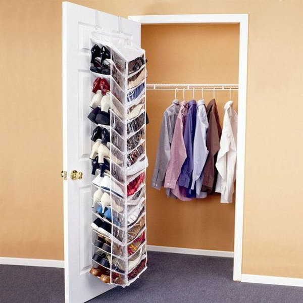 Shoes Hanging Closet Door. It would be such a mess to throw a pile of shoes in your dorm room. You can keep your shoes organized and conceal the messy outlook with this shoes hanging closet door. It can save you some space as well.