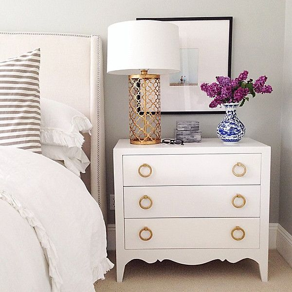 Forego Nightstands. It's a common practice to frame your bed in nightstand style. It's not necessary, you can place your dresser beside your bed to give it a chic appearance.