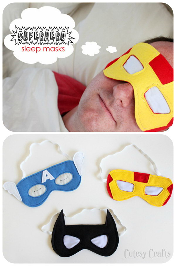 Superhero Sleep Masks. Dad is superhero to any kid. This is a easy to make coolest gift great for a dad's afternoon relaxation. See the instructions here.