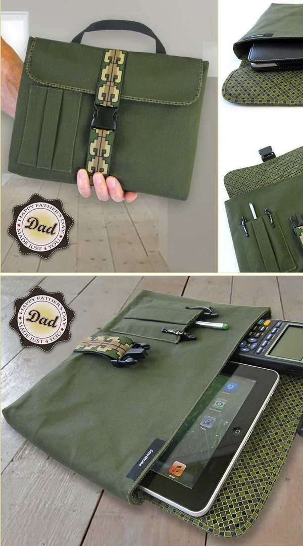 Digital Tablet or Device Sleeve. You can learn how to make this perfect gift for Dad with fabric step by step here.