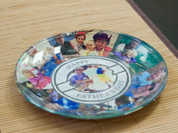 Photo Plate DIY. What a lovely gift. This is a super easy DIY that served as both a card to Dad and a special day plate for the goodies.